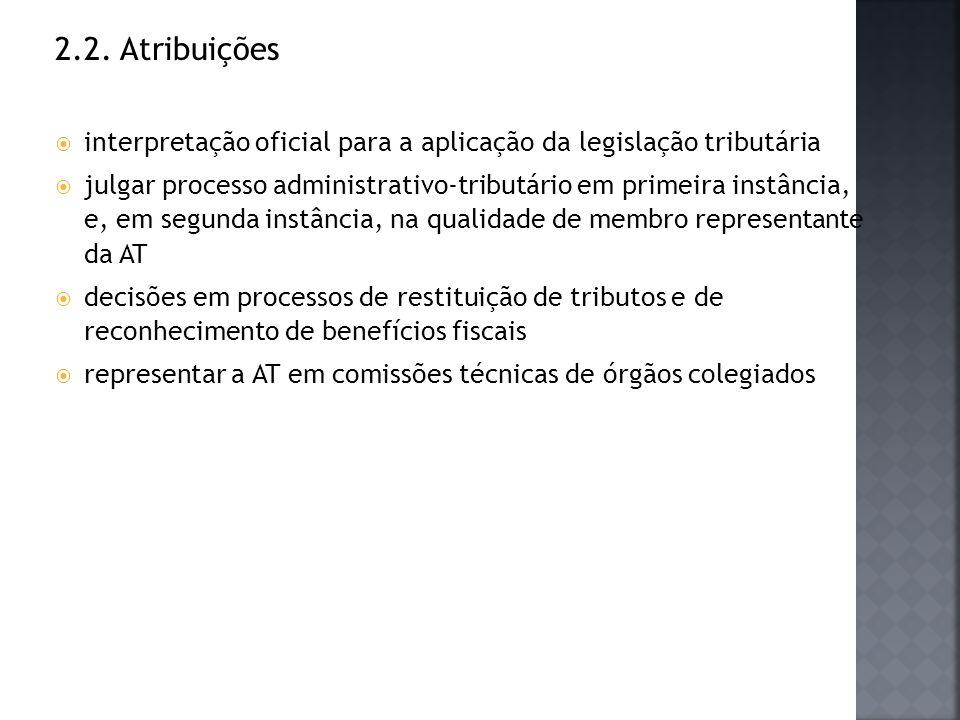 2.2. Atribuições interpretação oficial para a aplicação da legislação tributária julgar processo administrativo-tributário em primeira instância, e, e