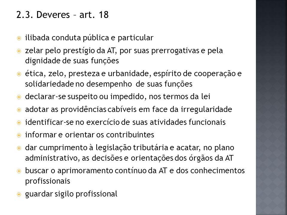 2.3. Deveres – art. 18 ilibada conduta pública e particular zelar pelo prestígio da AT, por suas prerrogativas e pela dignidade de suas funções ética,