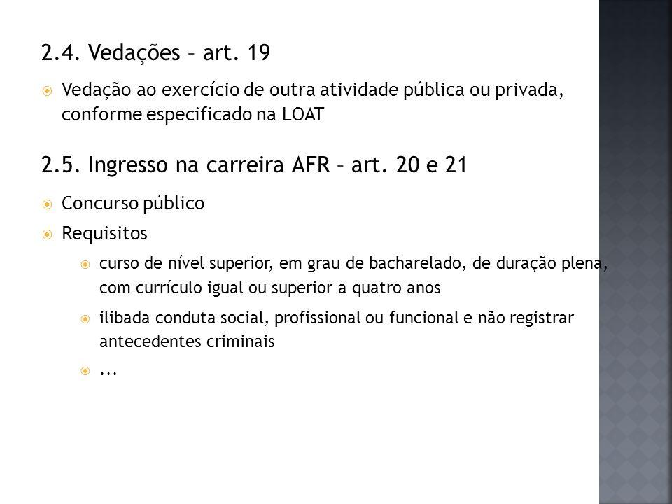 2.4. Vedações – art. 19 Vedação ao exercício de outra atividade pública ou privada, conforme especificado na LOAT 2.5. Ingresso na carreira AFR – art.