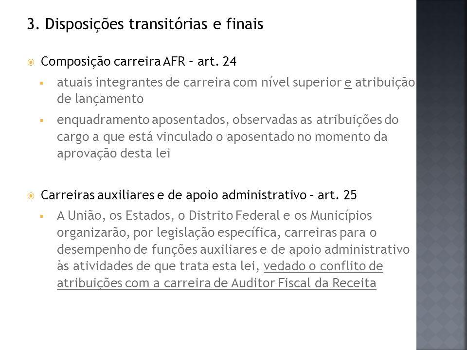 3. Disposições transitórias e finais Composição carreira AFR – art. 24 atuais integrantes de carreira com nível superior e atribuição de lançamento en