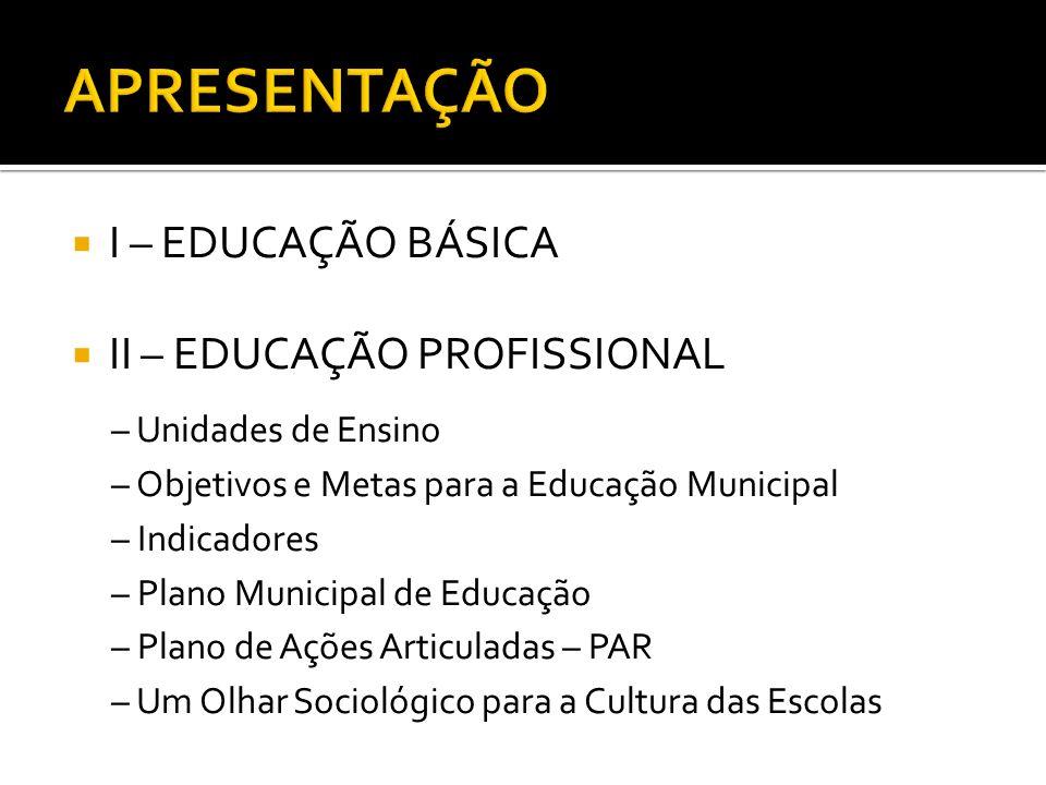 I – EDUCAÇÃO BÁSICA II – EDUCAÇÃO PROFISSIONAL – Unidades de Ensino – Objetivos e Metas para a Educação Municipal – Indicadores – Plano Municipal de E