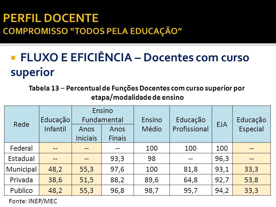 FLUXO E EFICIÊNCIA – Docentes com curso superior Tabela 13 – Percentual de Funções Docentes com curso superior por etapa/modalidade de ensino Fonte: I