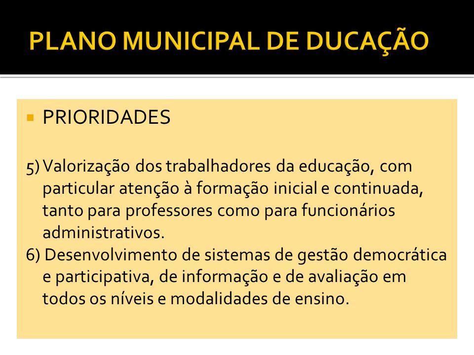 PRIORIDADES 7) Desenvolvimento do regime de colaboração com a União, o Estado e a Sociedade Civil, visando à plena execução dos objetivos e metas previstos no Plano Municipal de Educação.