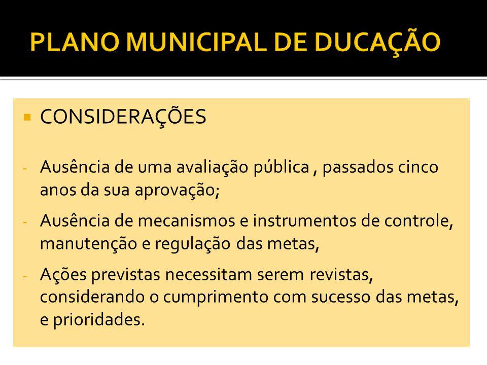CONSIDERAÇÕES - Ausência de uma avaliação pública, passados cinco anos da sua aprovação; - Ausência de mecanismos e instrumentos de controle, manutenç