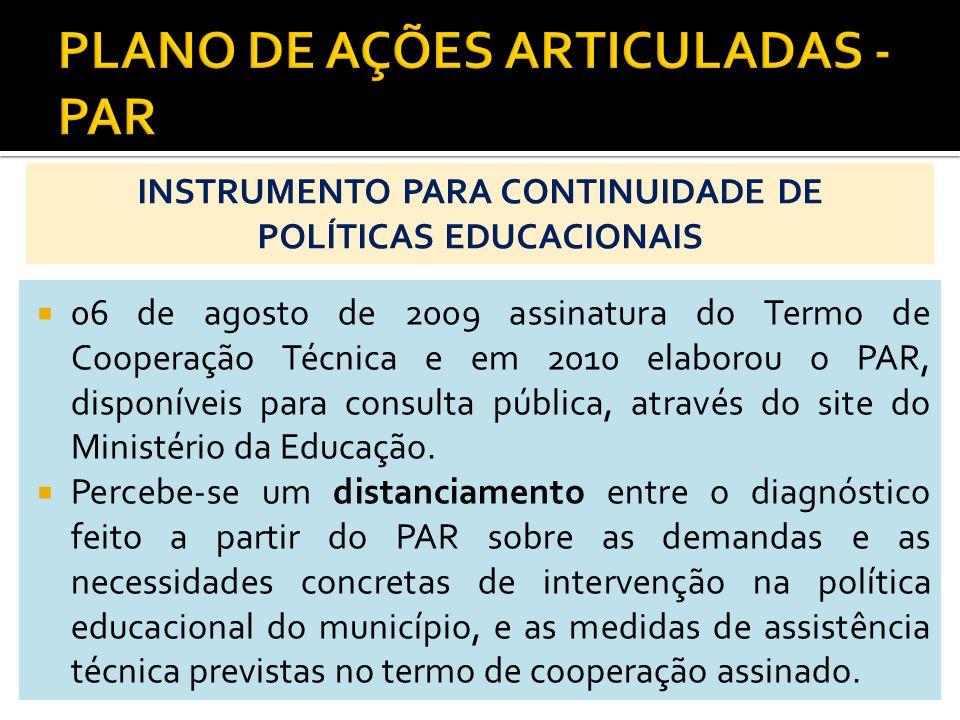 06 de agosto de 2009 assinatura do Termo de Cooperação Técnica e em 2010 elaborou o PAR, disponíveis para consulta pública, através do site do Ministé