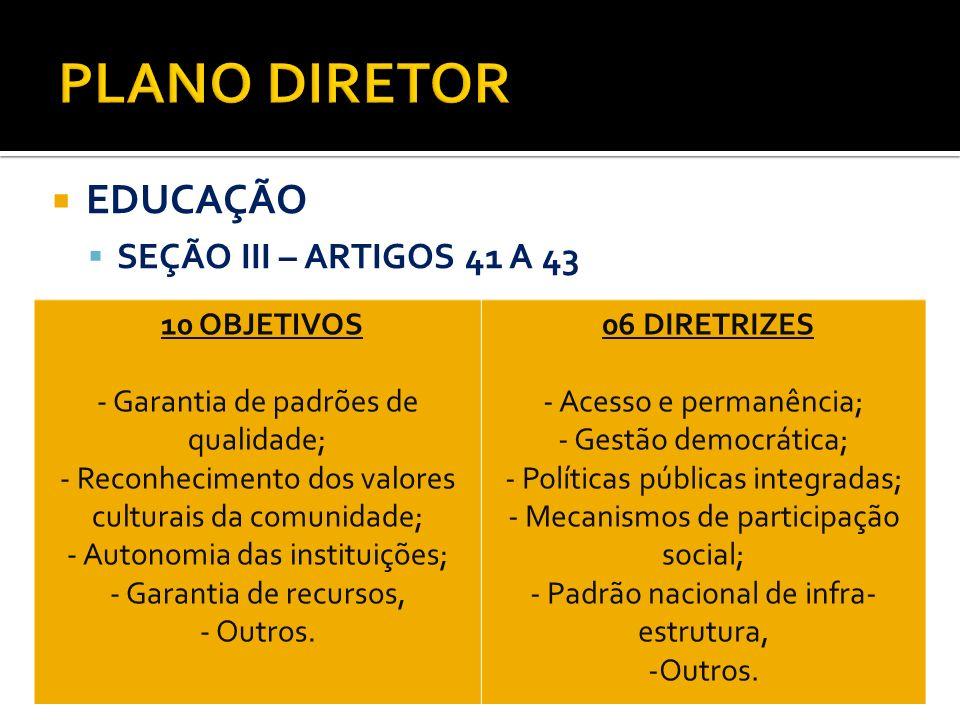 EDUCAÇÃO SEÇÃO III – ARTIGOS 41 A 43 10 OBJETIVOS - Garantia de padrões de qualidade; - Reconhecimento dos valores culturais da comunidade; - Autonomi