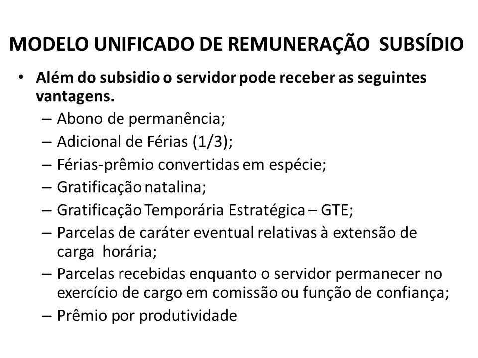 MODELO UNIFICADO DE REMUNERAÇÃO SUBSÍDIO Além do subsidio o servidor pode receber as seguintes vantagens. – Abono de permanência; – Adicional de Féria