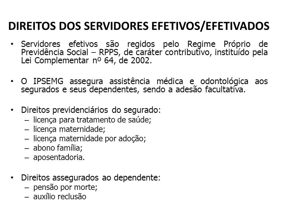 DIREITOS DOS SERVIDORES EFETIVOS/EFETIVADOS Servidores efetivos são regidos pelo Regime Próprio de Previdência Social – RPPS, de caráter contributivo,