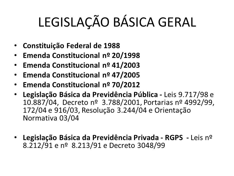 LEGISLAÇÃO BÁSICA GERAL Constituição Federal de 1988 Emenda Constitucional nº 20/1998 Emenda Constitucional nº 41/2003 Emenda Constitucional nº 47/200