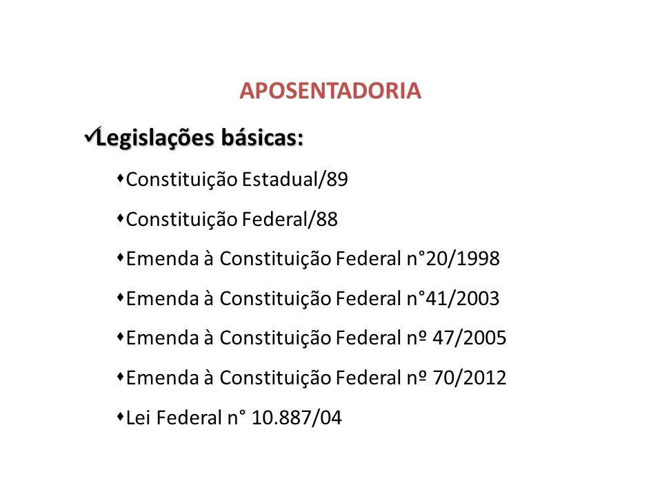 APOSENTADORIA Legislações básicas: Legislações básicas: Constituição Estadual/89 Constituição Federal/88 Emenda à Constituição Federal n°20/1998 Emend