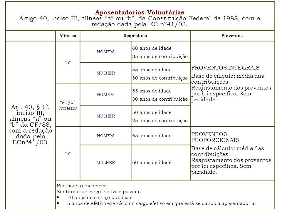 Aposentadorias Voluntárias Artigo 40, inciso III, alíneas a ou b, da Constituição Federal de 1988, com a redação dada pela EC nº41/03. Alíneas:Requisi