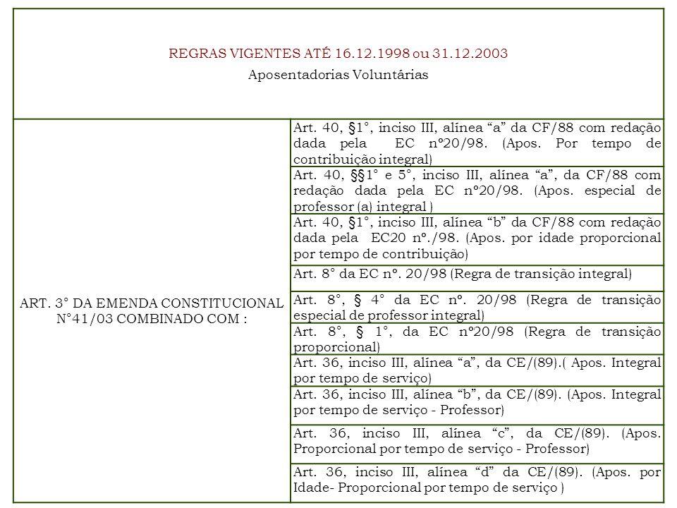 REGRAS VIGENTES ATÉ 16.12.1998 ou 31.12.2003 Aposentadorias Voluntárias ART. 3° DA EMENDA CONSTITUCIONAL N°41/03 COMBINADO COM : Art. 40, §1°, inciso