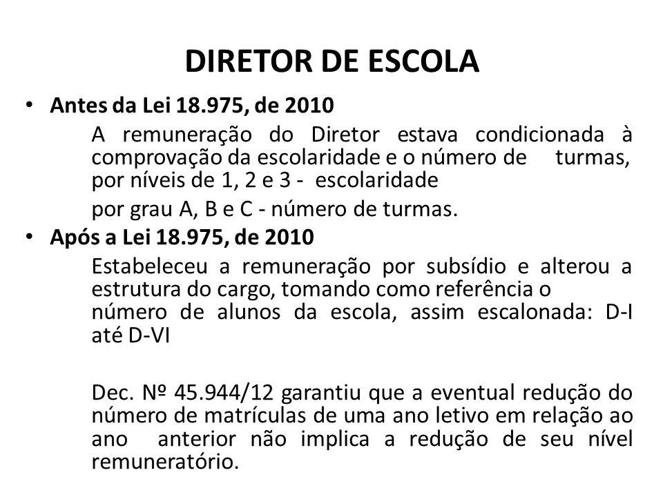 DIRETOR DE ESCOLA Antes da Lei 18.975, de 2010 A remuneração do Diretor estava condicionada à comprovação da escolaridade e o número de turmas, por ní