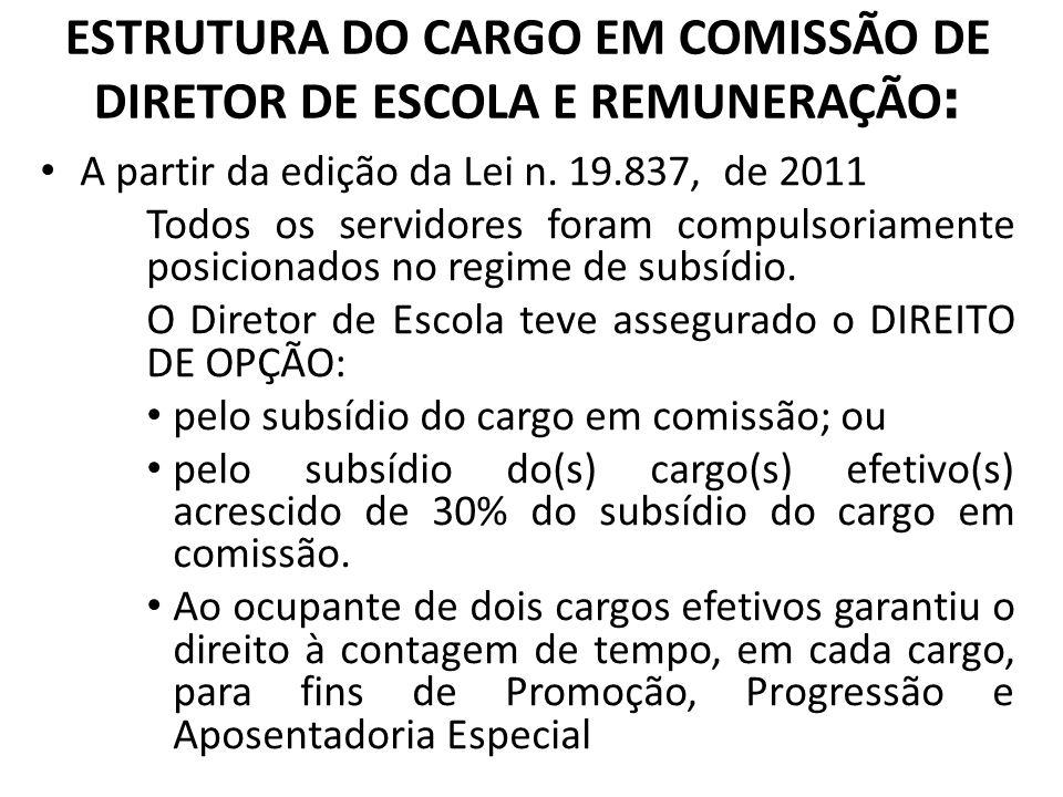 ESTRUTURA DO CARGO EM COMISSÃO DE DIRETOR DE ESCOLA E REMUNERAÇÃO : A partir da edição da Lei n. 19.837, de 2011 Todos os servidores foram compulsoria
