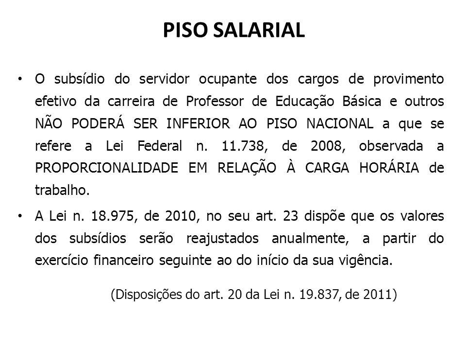 PISO SALARIAL O subsídio do servidor ocupante dos cargos de provimento efetivo da carreira de Professor de Educação Básica e outros NÃO PODERÁ SER INF