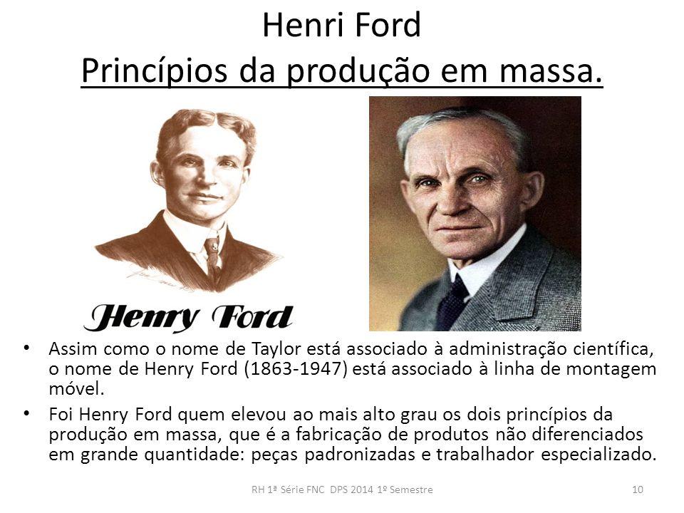 Henri Ford Princípios da produção em massa. Assim como o nome de Taylor está associado à administração científica, o nome de Henry Ford (1863-1947) es