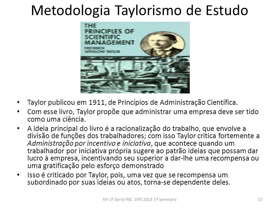 Metodologia Taylorismo de Estudo Taylor publicou em 1911, de Princípios de Administração Científica. Com esse livro, Taylor propõe que administrar uma