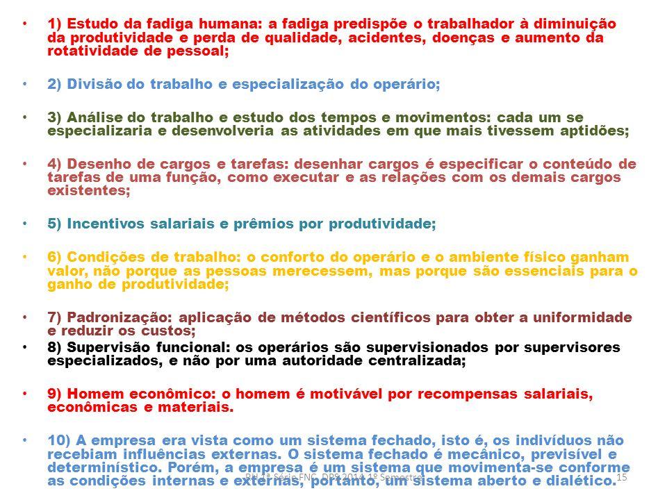 1) Estudo da fadiga humana: a fadiga predispõe o trabalhador à diminuição da produtividade e perda de qualidade, acidentes, doenças e aumento da rotat