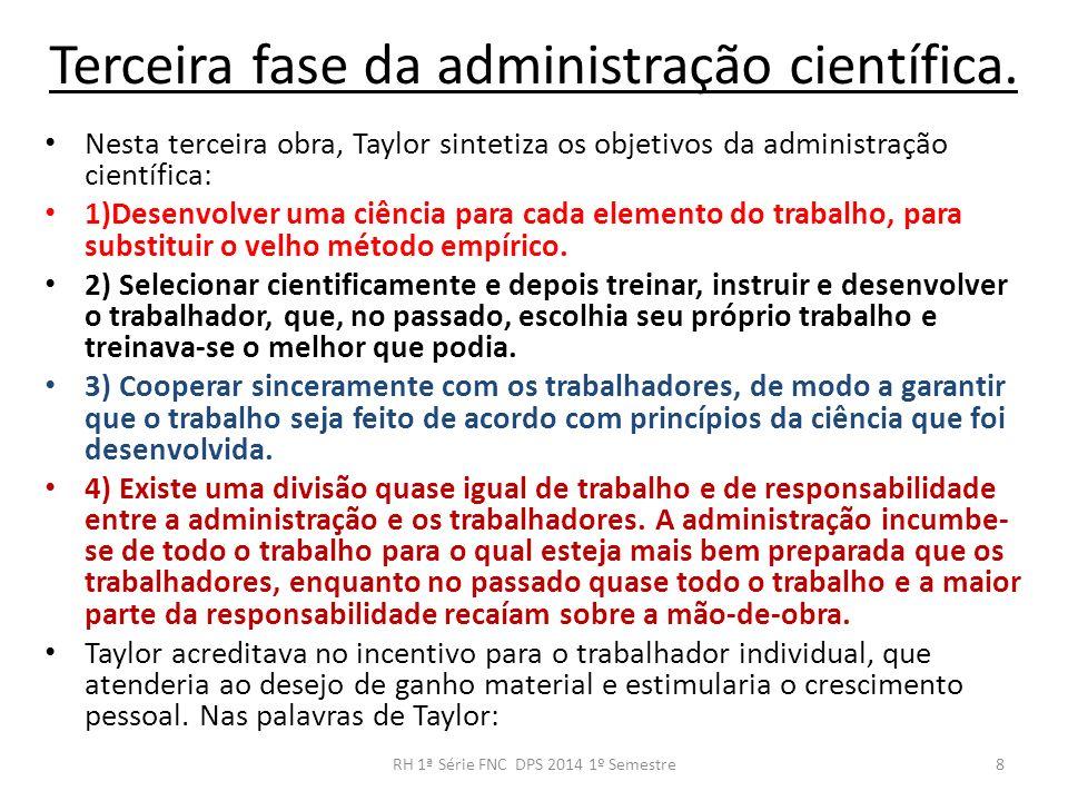 Terceira fase da administração científica. Nesta terceira obra, Taylor sintetiza os objetivos da administração científica: 1)Desenvolver uma ciência p