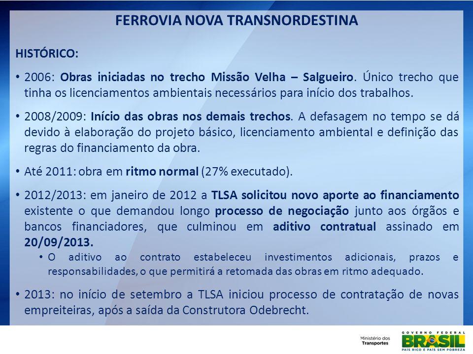 FERROVIA NOVA TRANSNORDESTINA HISTÓRICO: 2006: Obras iniciadas no trecho Missão Velha – Salgueiro. Único trecho que tinha os licenciamentos ambientais