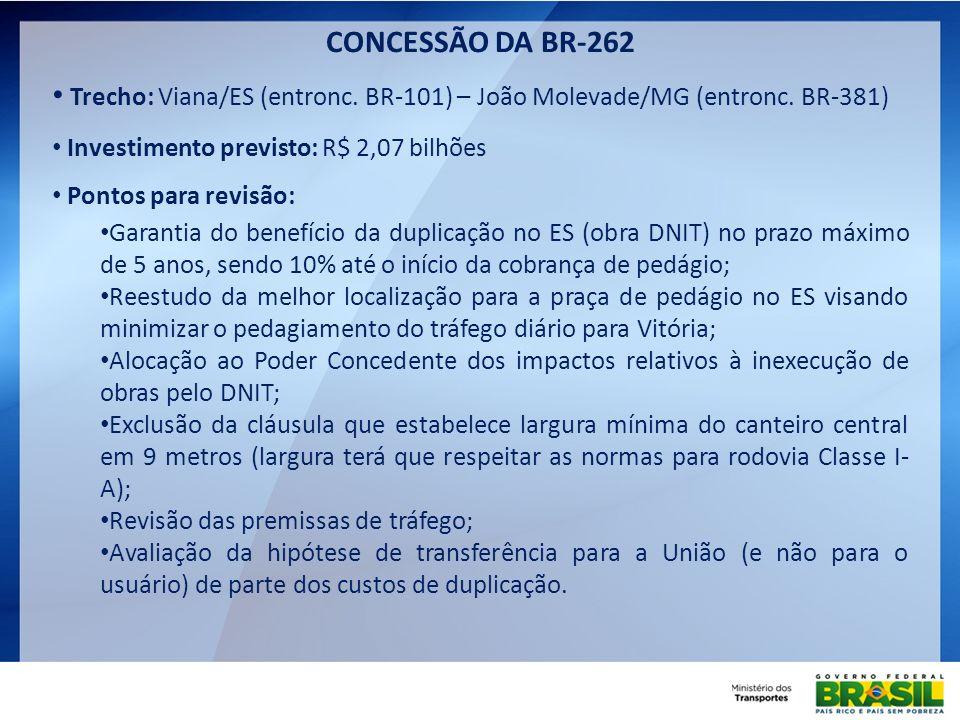 Trecho: Viana/ES (entronc. BR-101) – João Molevade/MG (entronc. BR-381) Investimento previsto: R$ 2,07 bilhões Pontos para revisão: Garantia do benefí