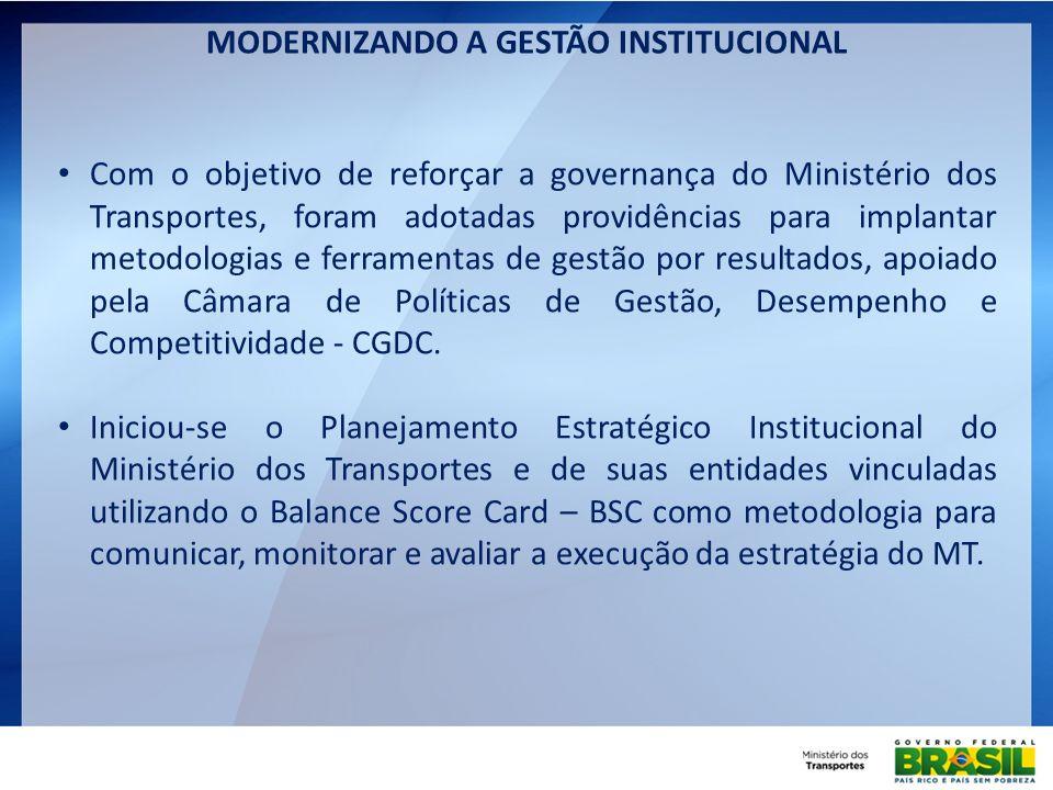 MODERNIZANDO A GESTÃO INSTITUCIONAL Com o objetivo de reforçar a governança do Ministério dos Transportes, foram adotadas providências para implantar