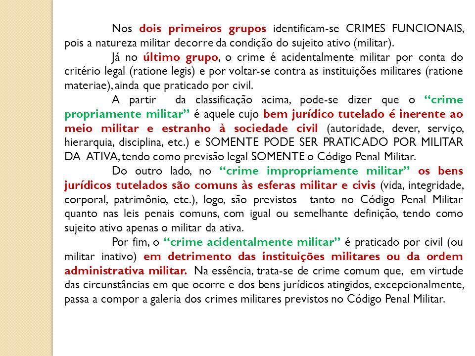 Nos dois primeiros grupos identificam-se CRIMES FUNCIONAIS, pois a natureza militar decorre da condição do sujeito ativo (militar). Já no último grupo