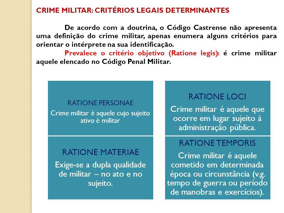 CRIME MILITAR: CRITÉRIOS LEGAIS DETERMINANTES De acordo com a doutrina, o Código Castrense não apresenta uma definição do crime militar, apenas enumer