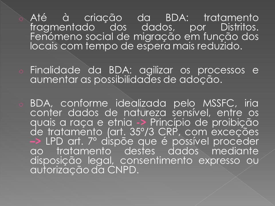 o Até à criação da BDA: tratamento fragmentado dos dados, por Distritos.