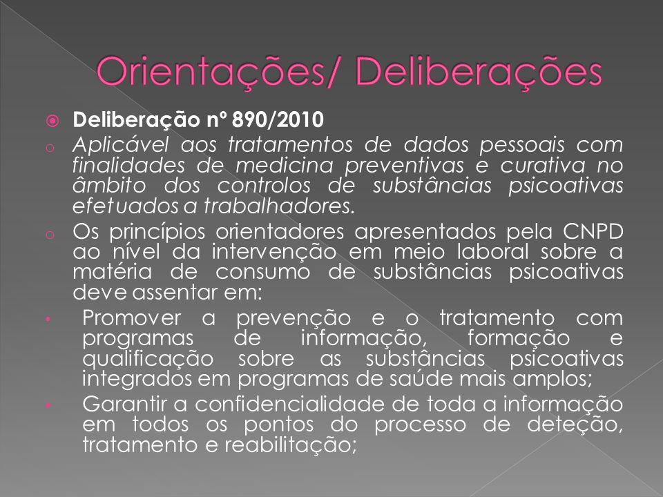 Deliberação nº 890/2010 o Aplicável aos tratamentos de dados pessoais com finalidades de medicina preventivas e curativa no âmbito dos controlos de substâncias psicoativas efetuados a trabalhadores.