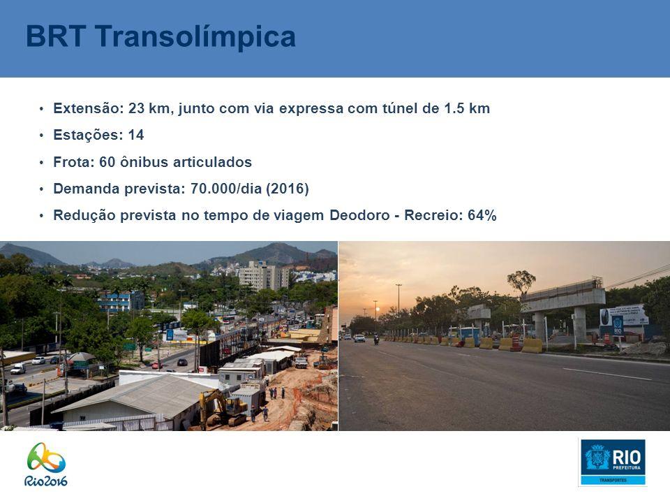 BRT Transolímpica Extensão: 23 km, junto com via expressa com túnel de 1.5 km Estações: 14 Frota: 60 ônibus articulados Demanda prevista: 70.000/dia (