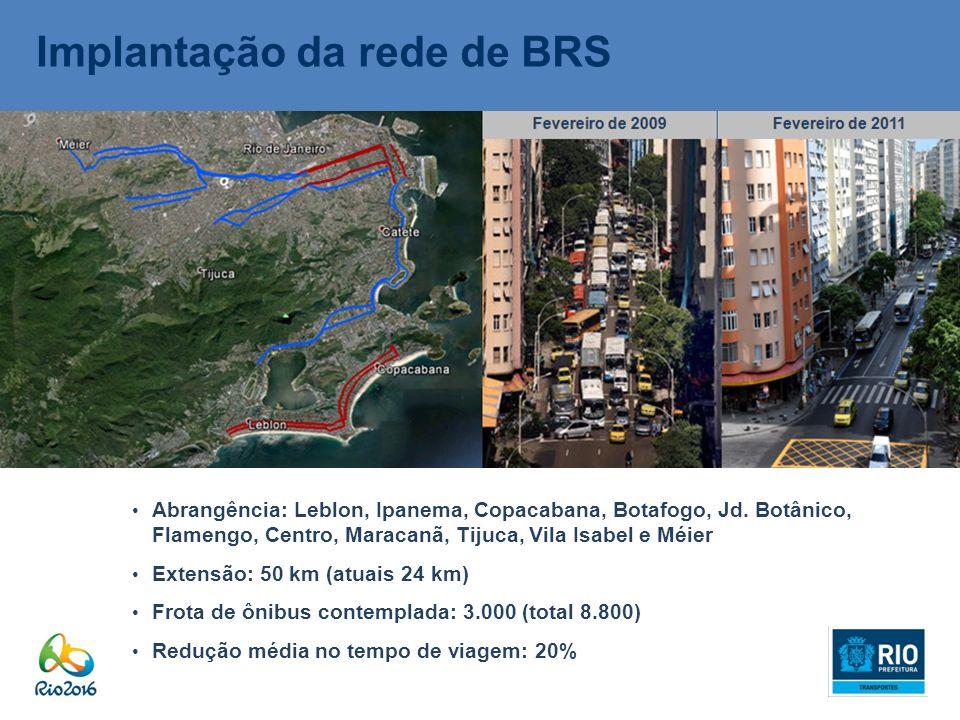 Implantação da rede de BRS Abrangência: Leblon, Ipanema, Copacabana, Botafogo, Jd. Botânico, Flamengo, Centro, Maracanã, Tijuca, Vila Isabel e Méier E