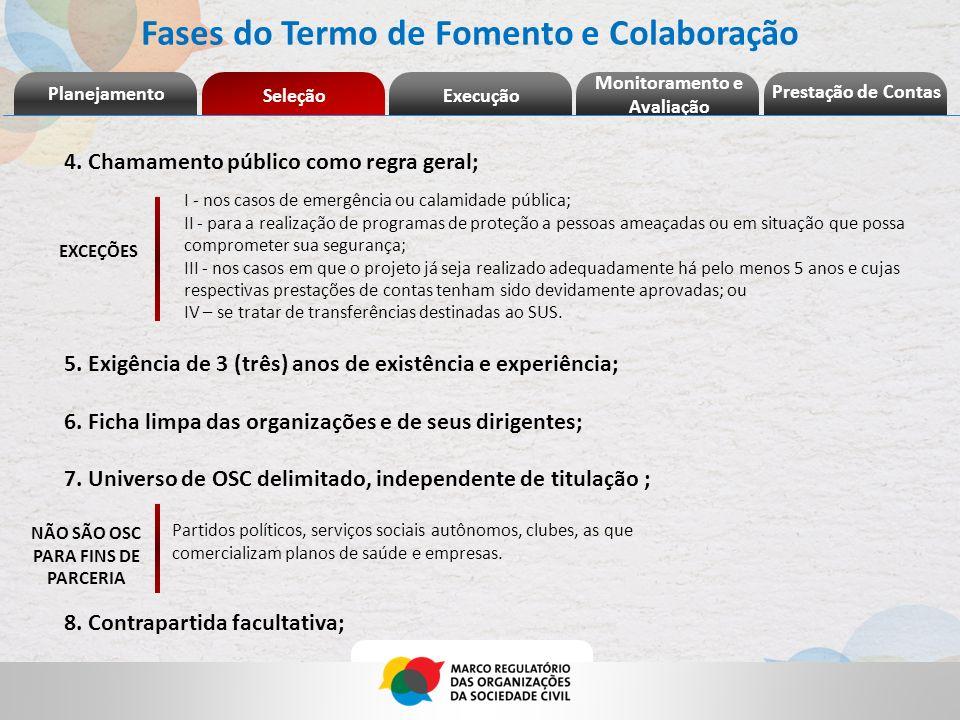 Fases do Termo de Fomento e Colaboração 4. Chamamento público como regra geral; 5. Exigência de 3 (três) anos de existência e experiência; 6. Ficha li