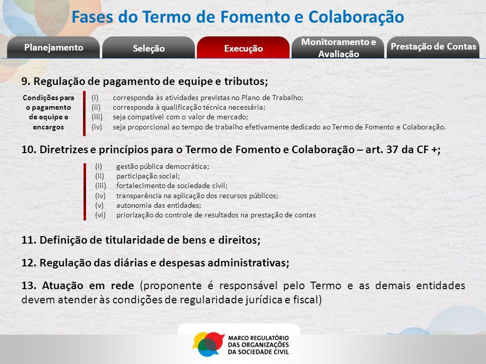 Fases do Termo de Fomento e Colaboração 9. Regulação de pagamento de equipe e tributos; 10. Diretrizes e princípios para o Termo de Fomento e Colabora