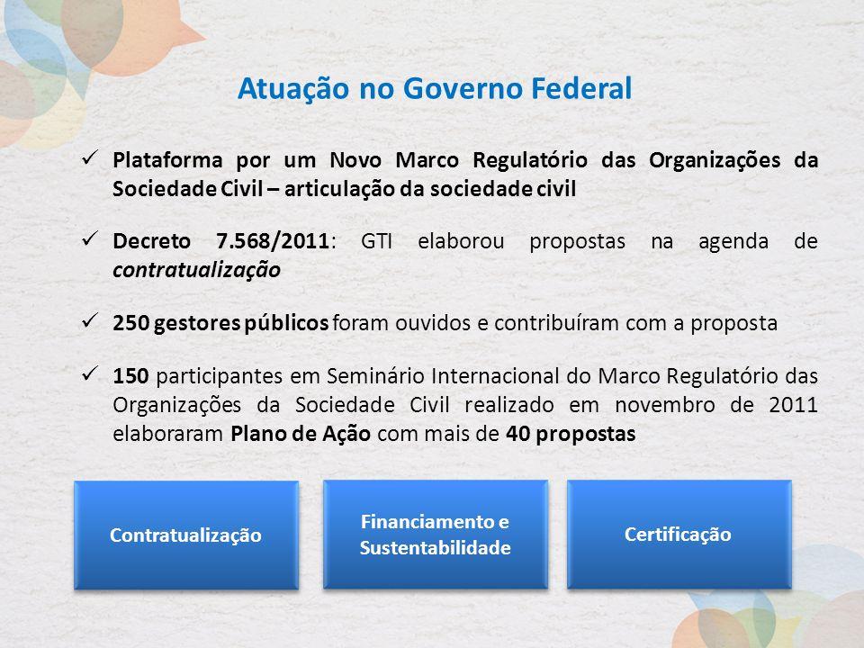Atuação no Governo Federal Plataforma por um Novo Marco Regulatório das Organizações da Sociedade Civil – articulação da sociedade civil Decreto 7.568