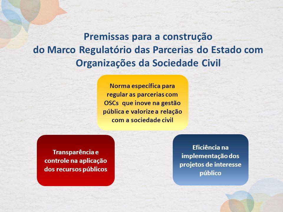 Transparência e controle na aplicação dos recursos públicos Eficiência na implementação dos projetos de interesse público Norma específica para regula