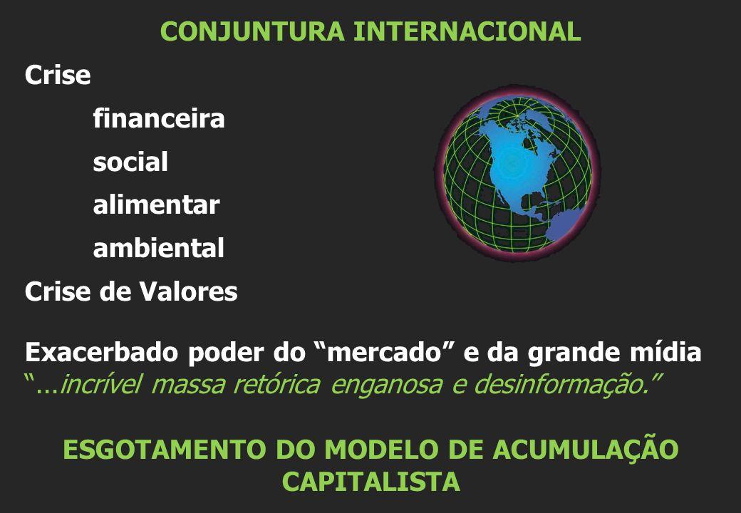 CONJUNTURA INTERNACIONAL Crise financeira social alimentar ambiental Crise de Valores Exacerbado poder do mercado e da grande mídia...incrível massa retórica enganosa e desinformação.