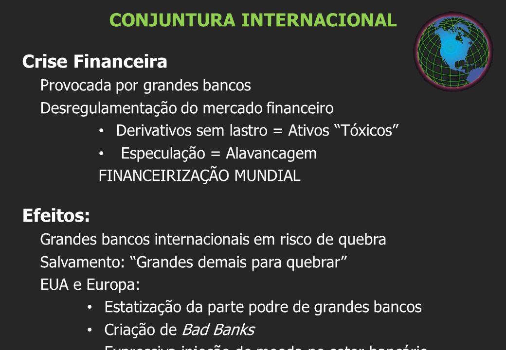 CONJUNTURA INTERNACIONAL Crise Financeira Provocada por grandes bancos Desregulamentação do mercado financeiro Derivativos sem lastro = Ativos Tóxicos Especulação = Alavancagem FINANCEIRIZAÇÃO MUNDIAL Efeitos: Grandes bancos internacionais em risco de quebra Salvamento: Grandes demais para quebrar EUA e Europa: Estatização da parte podre de grandes bancos Criação de Bad Banks Expressiva injeção de moeda no setor bancário