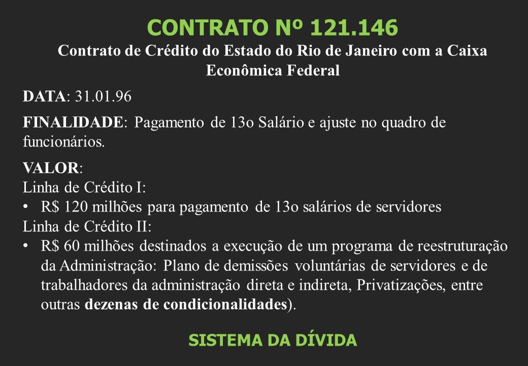CONTRATO Nº 121.146 Contrato de Crédito do Estado do Rio de Janeiro com a Caixa Econômica Federal DATA: 31.01.96 FINALIDADE: Pagamento de 13o Salário e ajuste no quadro de funcionários.