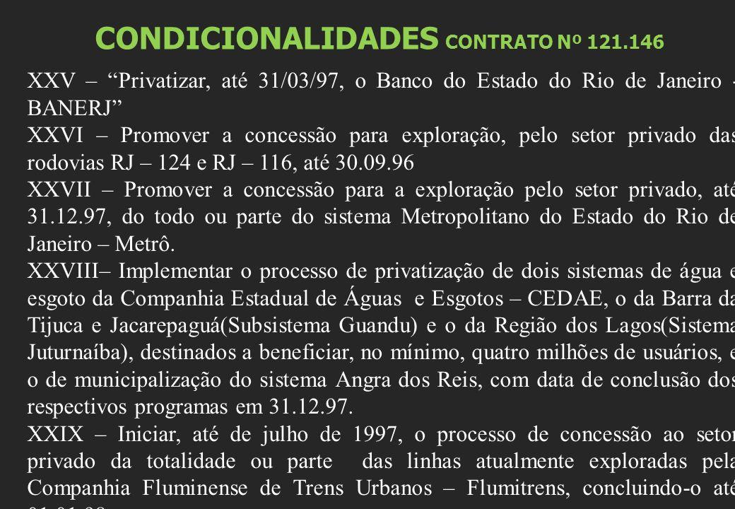 CONDICIONALIDADES CONTRATO Nº 121.146 XXV – Privatizar, até 31/03/97, o Banco do Estado do Rio de Janeiro - BANERJ XXVI – Promover a concessão para exploração, pelo setor privado das rodovias RJ – 124 e RJ – 116, até 30.09.96 XXVII – Promover a concessão para a exploração pelo setor privado, até 31.12.97, do todo ou parte do sistema Metropolitano do Estado do Rio de Janeiro – Metrô.