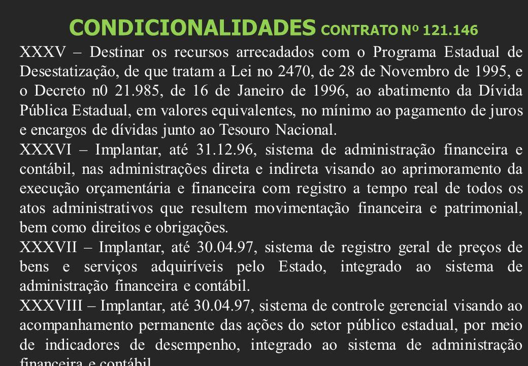 CONDICIONALIDADES CONTRATO Nº 121.146 XXXV – Destinar os recursos arrecadados com o Programa Estadual de Desestatização, de que tratam a Lei no 2470, de 28 de Novembro de 1995, e o Decreto n0 21.985, de 16 de Janeiro de 1996, ao abatimento da Dívida Pública Estadual, em valores equivalentes, no mínimo ao pagamento de juros e encargos de dívidas junto ao Tesouro Nacional.