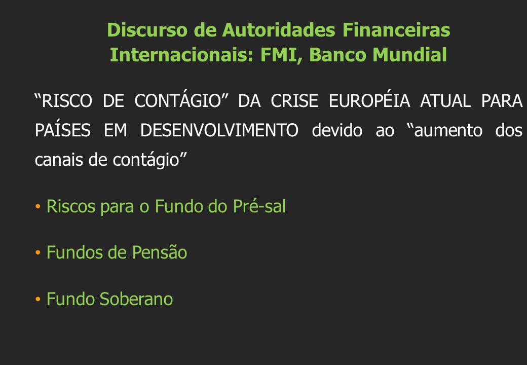 Discurso de Autoridades Financeiras Internacionais: FMI, Banco Mundial RISCO DE CONTÁGIO DA CRISE EUROPÉIA ATUAL PARA PAÍSES EM DESENVOLVIMENTO devido ao aumento dos canais de contágio Riscos para o Fundo do Pré-sal Fundos de Pensão Fundo Soberano