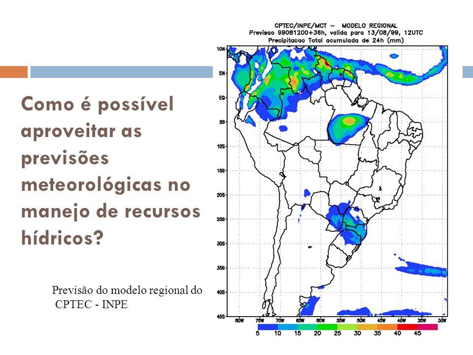 Como é possível aproveitar as previsões meteorológicas no manejo de recursos hídricos? Previsão do modelo regional do CPTEC - INPE