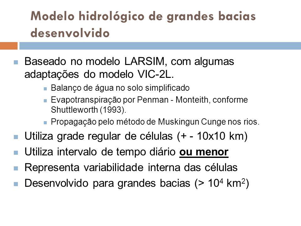 Modelo hidrológico de grandes bacias desenvolvido Baseado no modelo LARSIM, com algumas adaptações do modelo VIC-2L. Balanço de água no solo simplific