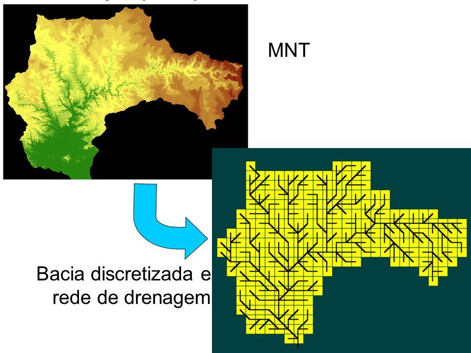 MNT Bacia discretizada e rede de drenagem