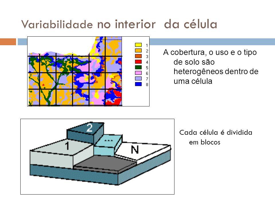 Variabilidade no interior da célula Cada célula é dividida em blocos A cobertura, o uso e o tipo de solo são heterogêneos dentro de uma célula