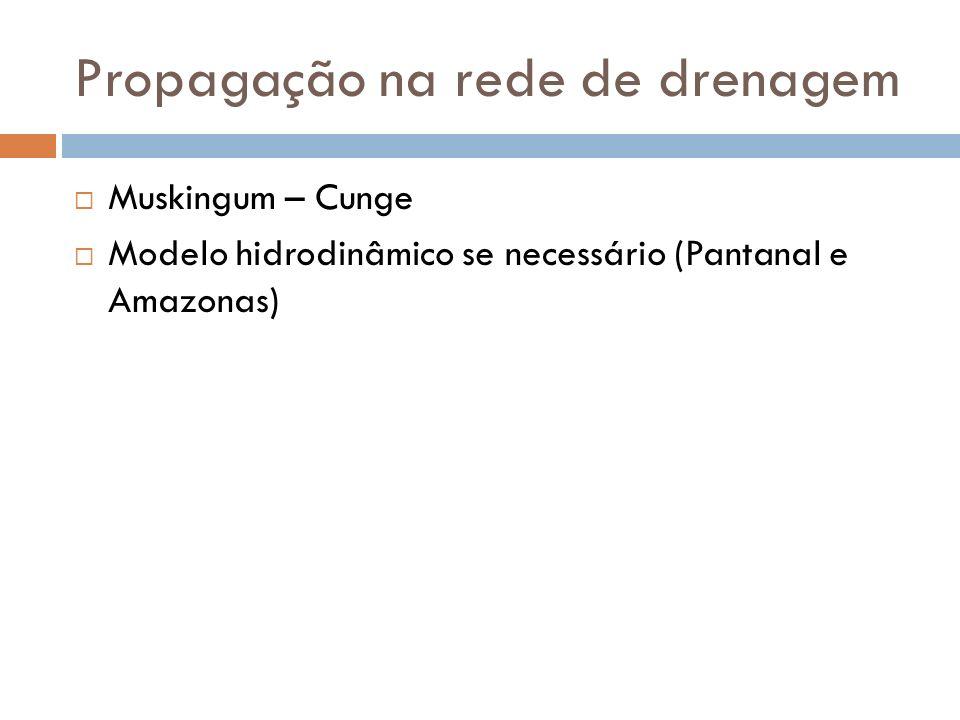 Propagação na rede de drenagem Muskingum – Cunge Modelo hidrodinâmico se necessário (Pantanal e Amazonas)