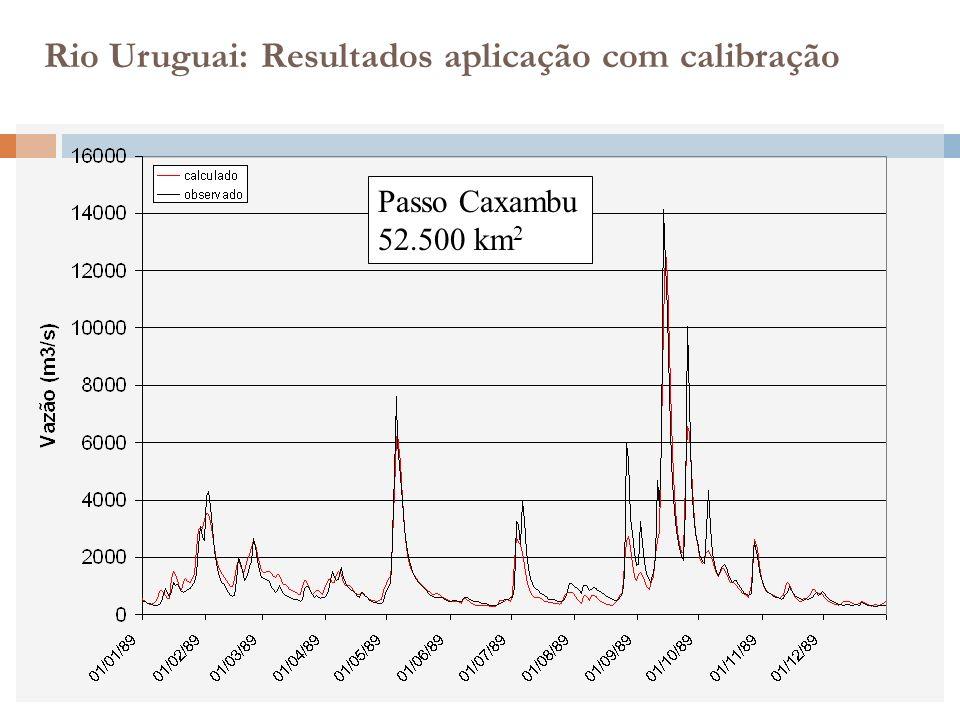 Passo Caxambu 52.500 km 2 Rio Uruguai: Resultados aplicação com calibração