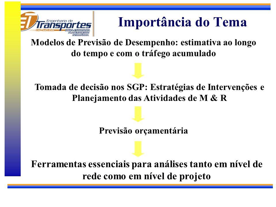 UNIVERSIDADE DE SÃO PAULO ESCOLA DE ENGENHARIA DE SÃO CARLOS DEPARTAMENTO DE TRANSPORTES O Emprego de Modelos para Previsão de Desempenho de Pavimento