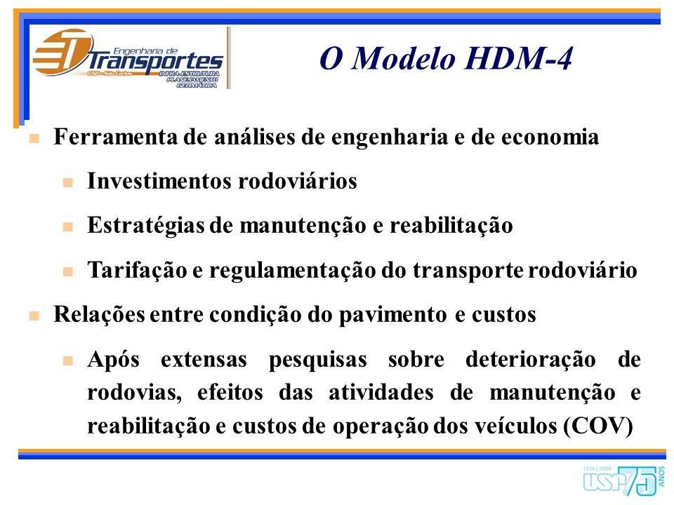 Melhorias Técnicas - HDM-4 Pavimentos Maior número de pavimentos flexíveis Pavimentos rígidos Mais tipos de atividades de manutenção Efeitos da drenag